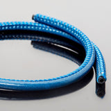 5mm Premium stitched soft round bright blue leather cord 1.8mm inner core, 1 Foot
