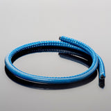 CLEARANCE 5mm Premium stitched soft round bright blue leather cord 1.8mm inner core, 1 Foot