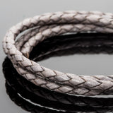 2 Feet premium round leather woven bolo cord Natural gray, 3.5mm
