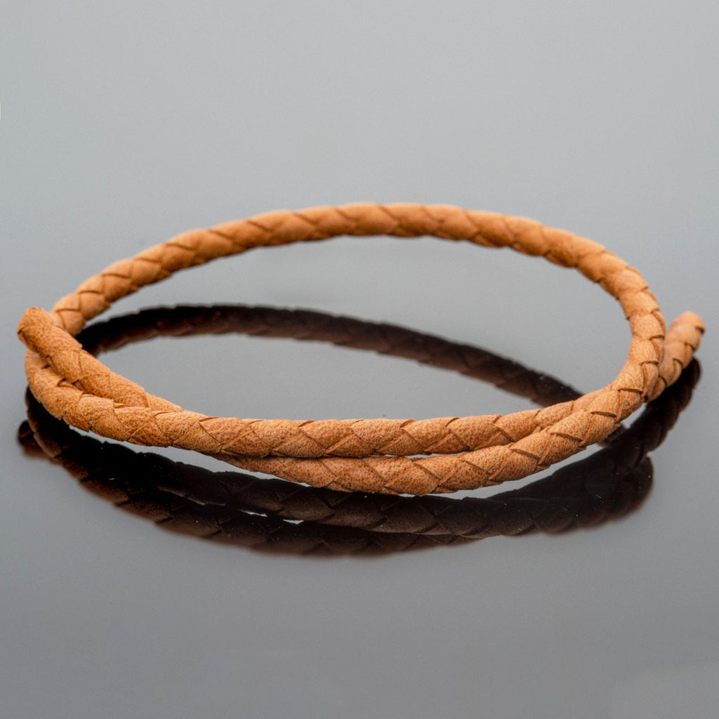 4mm Denver medium brown woven round leather cord, 1 Foot