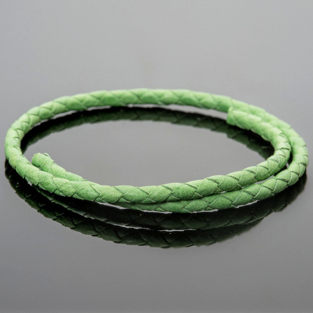 CLEARANCE 4mm round soft Denver woven leather bolo cord in Bright Green, 1 Foot
