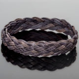 1 Foot 10 x 2mm flat 5 strand braided leather, antique natural grey