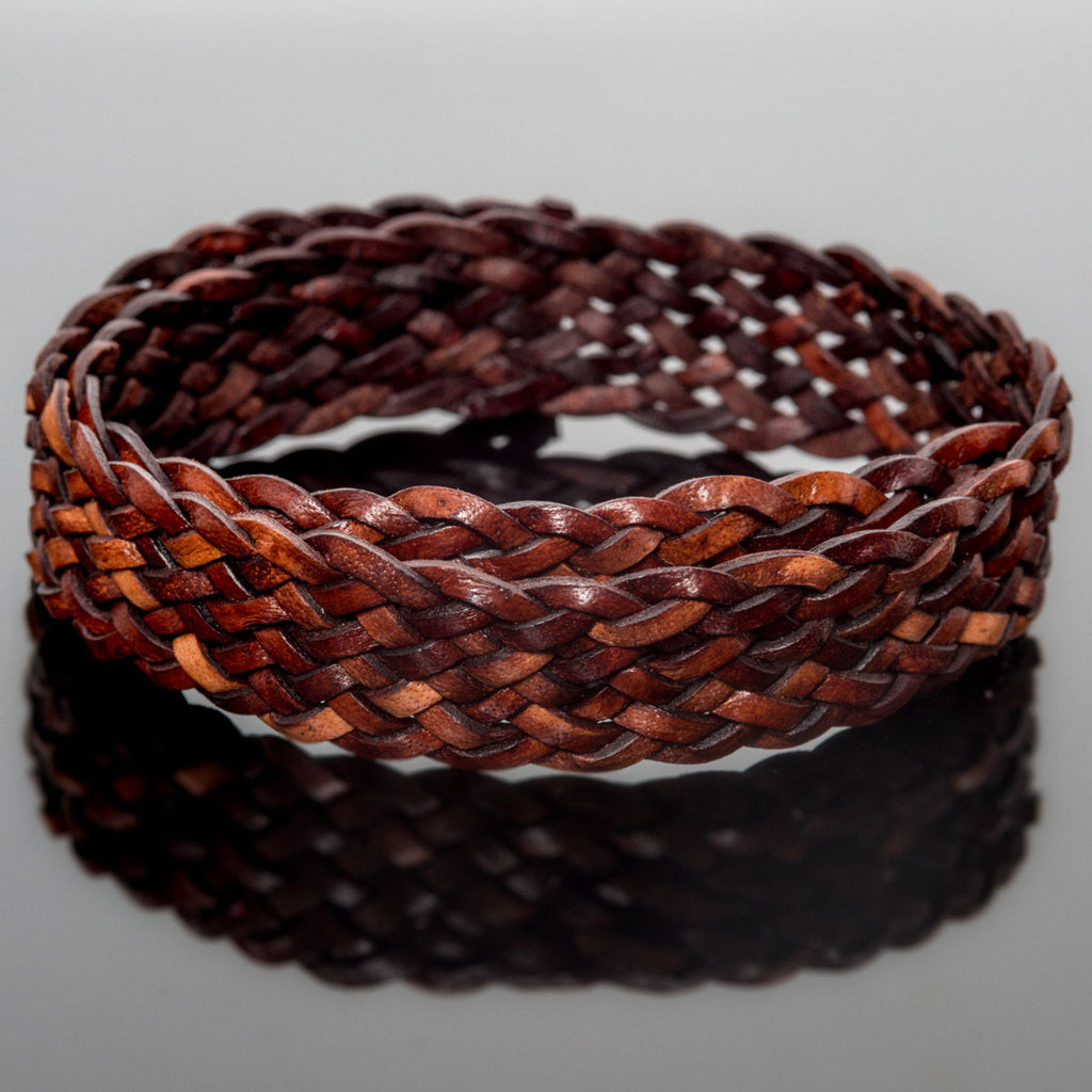 1 Foot 15 x 2mm flat 9 strand braided leather, Natural red brown