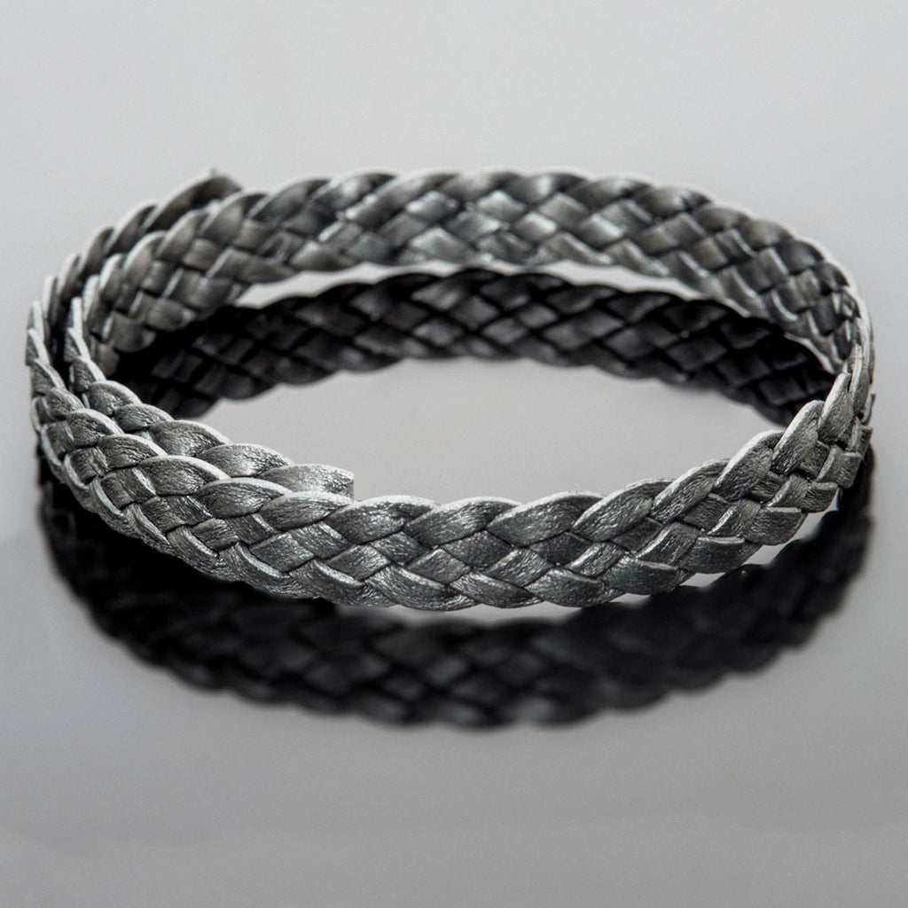 1 Foot 10 x 2mm flat 5 strand braided leather, metallic gray silver