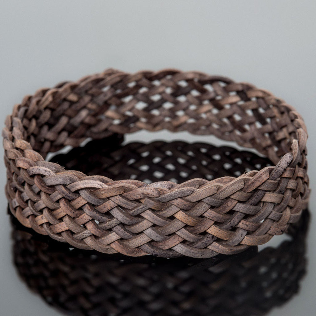 1 Foot 15 x 2mm flat 9 strand braided leather, Natural Antique Gray
