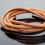 CLEARANCE 3 Feet premium round leather cord in Natural, 5mm