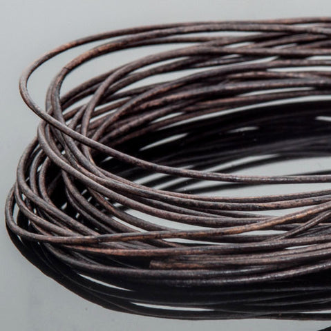 0.5mm round leather cord Natural dark brown, 10 Feet