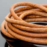 CLEARANCE 5 Feet premium round leather cord in Natural brown, 3mm