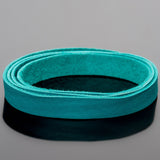 1 Foot soft high quality 10mm leather deertan flat cord, Turquoise