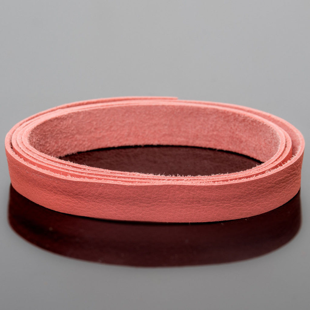 1 Foot soft high quality 10mm leather deertan flat cord, Pink