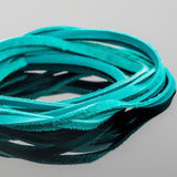 5 Feet soft high quality 3mm leather deertan flat cord, Turquoise