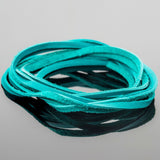 3 Feet soft high quality 3mm leather deertan flat cord, Turquoise