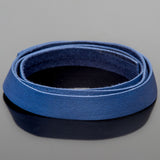 1 Foot soft high quality 10mm leather deertan flat cord, Blue
