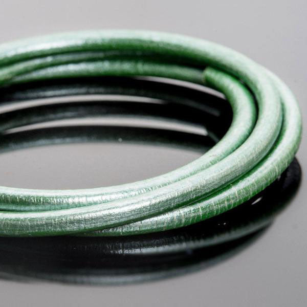 5mm premium round leather in Silvered spring green, 3 Feet