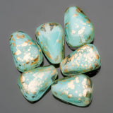 CLEARANCE 10 Big encased mint blue with antique gold Old style Czech drop beads, 12 x 10mm
