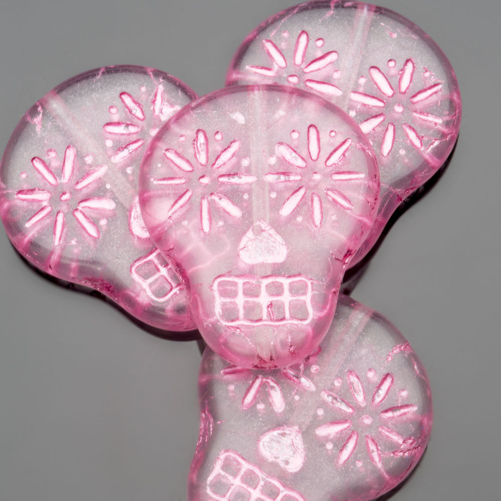 CLEARANCE 4 Matte crystal and shimmery pink wash Czech sugar skulls, 19 x 16mm, vertical hole