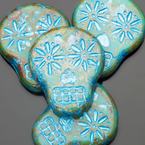CLEARANCE 4 Picasso turquoise with shimmery blue wash Czech sugar skulls, 19 x 16mm, vertical hole