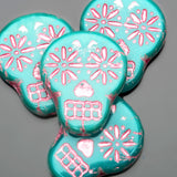 CLEARANCE 4 Turquoise blue with shimmery pink wash Czech sugar skulls, 19 x 16mm, vertical hole