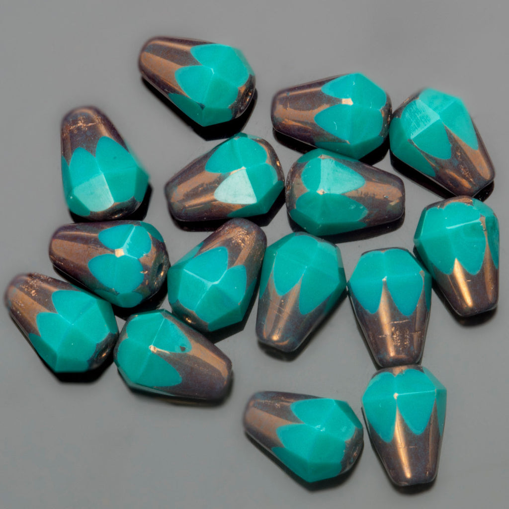 CLEARANCE 15 Turquoise bronze Picasso faceted drop bottom cut Czech glass beads, 8 x 6mm