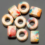 50 Short matte ceramic Candy splash, 6 x 4mm tube beads, 2.5mm hole
