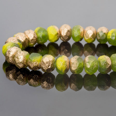 CLEARANCE 10 Etched olive green mix with gold Picasso firepolished gemstone rondelles, 9 x 6mm