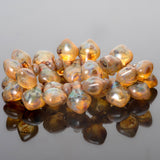 15 Crystal full coat Picasso spade drop Czech beads, 11 x 8mm
