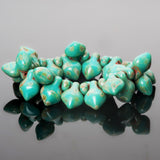15 Turquoise Picasso spade drop Czech beads, 11 x 8mm