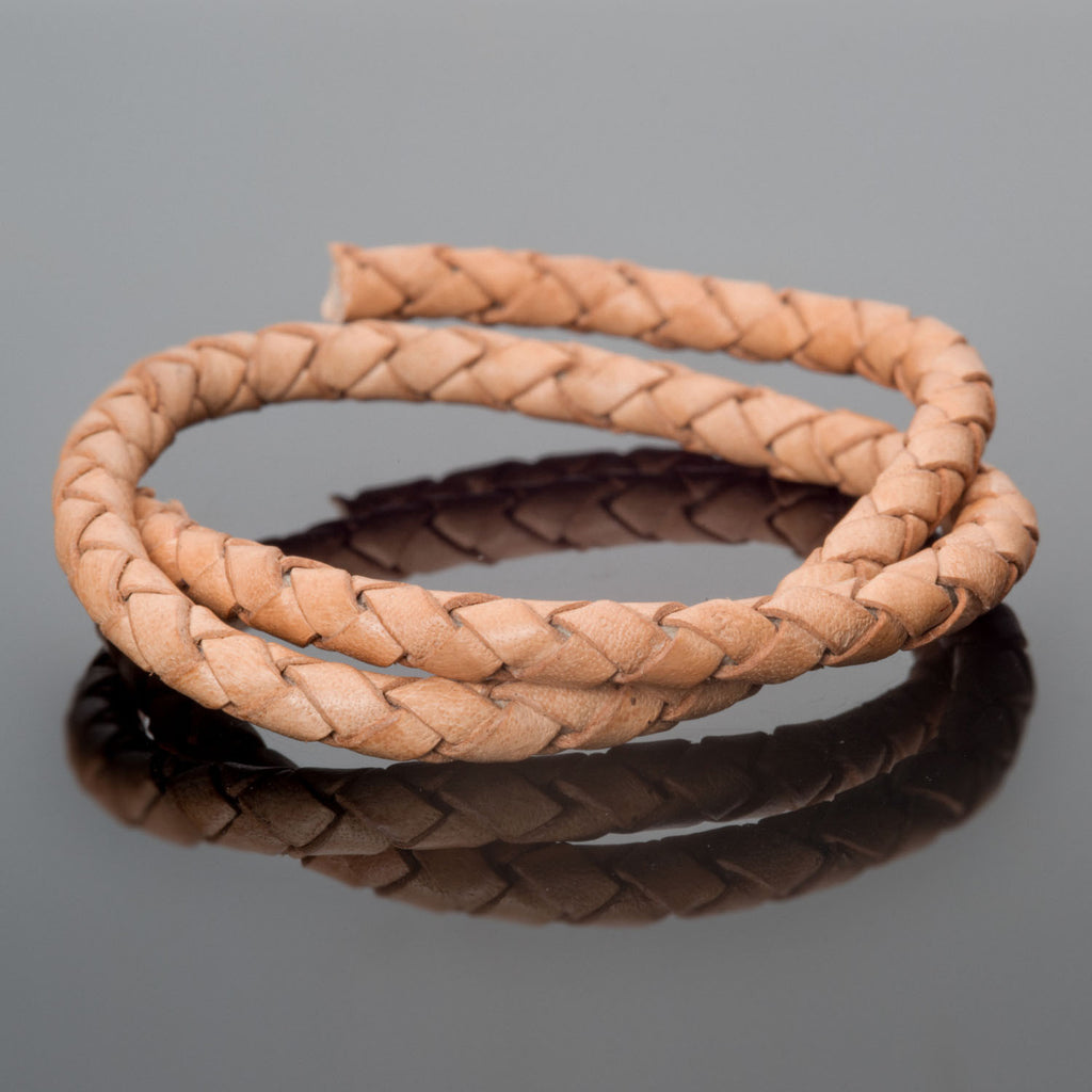 Pre-Cut 16 Inches, 5mm round leather woven bolo cord, Natural Light Brown