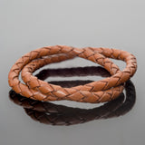 5mm round leather woven bolo cord Dark brown, 1 Foot