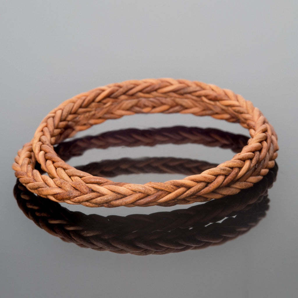 4mm Woven square natural light brown leather cord, 1 Foot