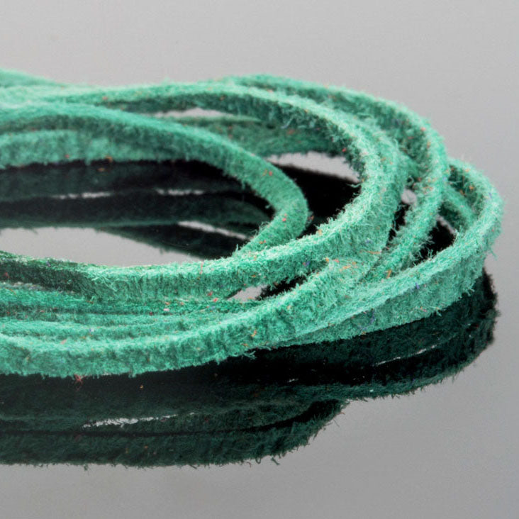 2mm Flat Suede lace cord Bright Green, 8 Feet