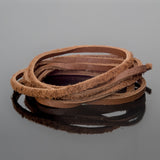 3 Feet soft high quality 3mm leather deertan flat cord, light brown