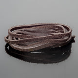 3 Feet soft high quality 3mm leather deertan flat cord, Dark Brown