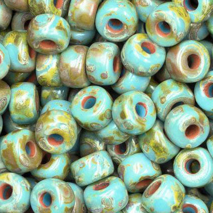 10 Grams 2/0 Matubo Turquoise Blue Travertine Picasso Beads, 4 x 6mm
