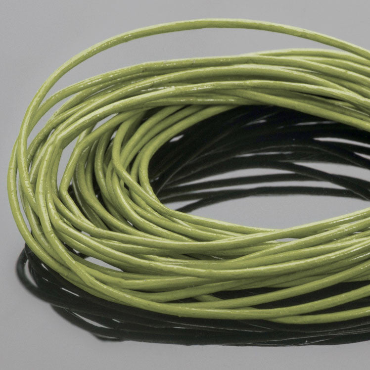 0.5mm round leather cord Absinth green, 10 feet