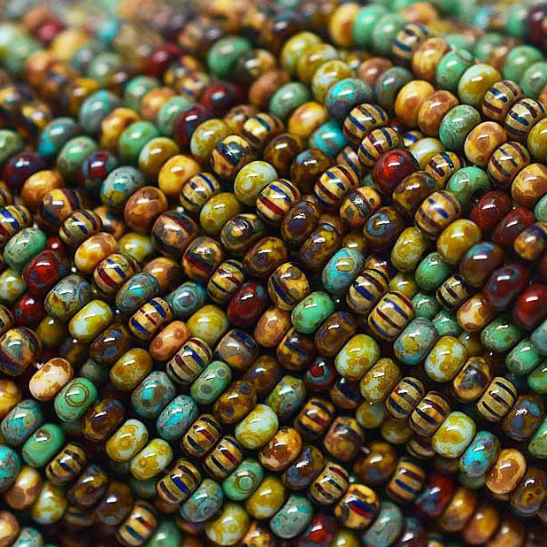 80 inches Aged Picasso 10/0 seed beads, 1360 beads