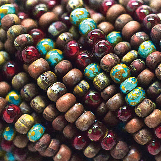 "Choose 1 - 3 (22"" Strands) 8/0 Aged Rustic Mosaic Picasso Seed Mix, 3 x 2mm"