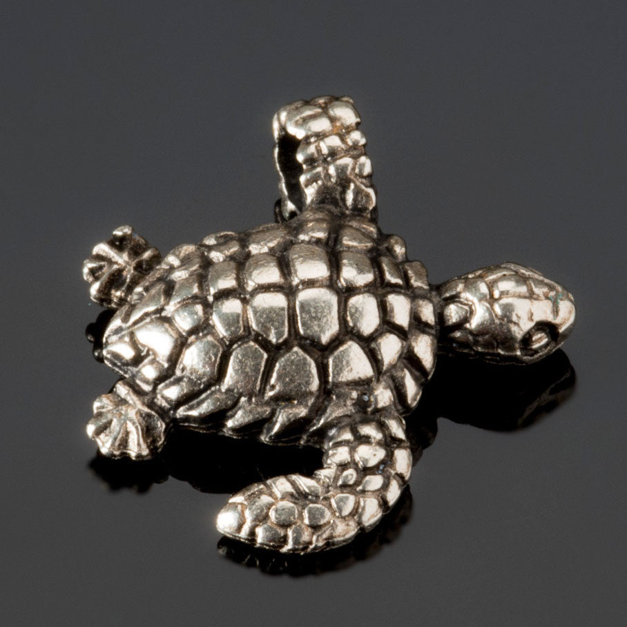 Cast sea turtle charm lead-free antique silver, 23 x 20mm