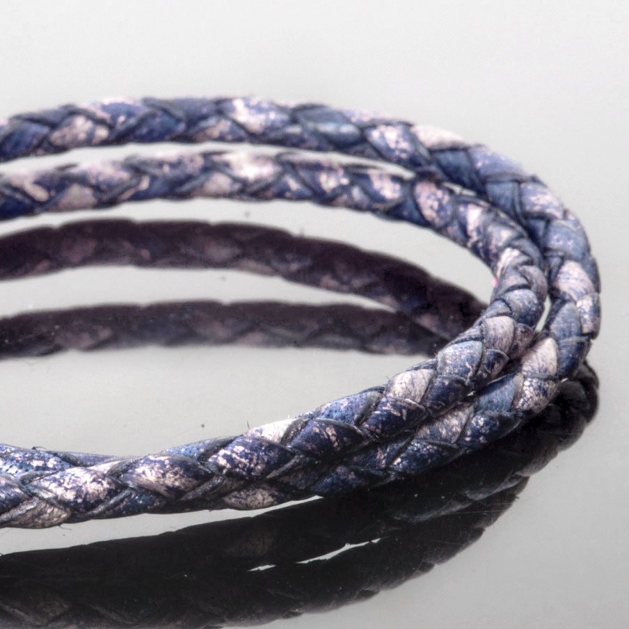 2 Feet 3mm Braided Woven Bolo Leather Cord, Antique Pacific Blue