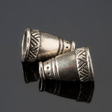 2 Cast Native style large cone end cap pair, antique silver, 18 x 11mm