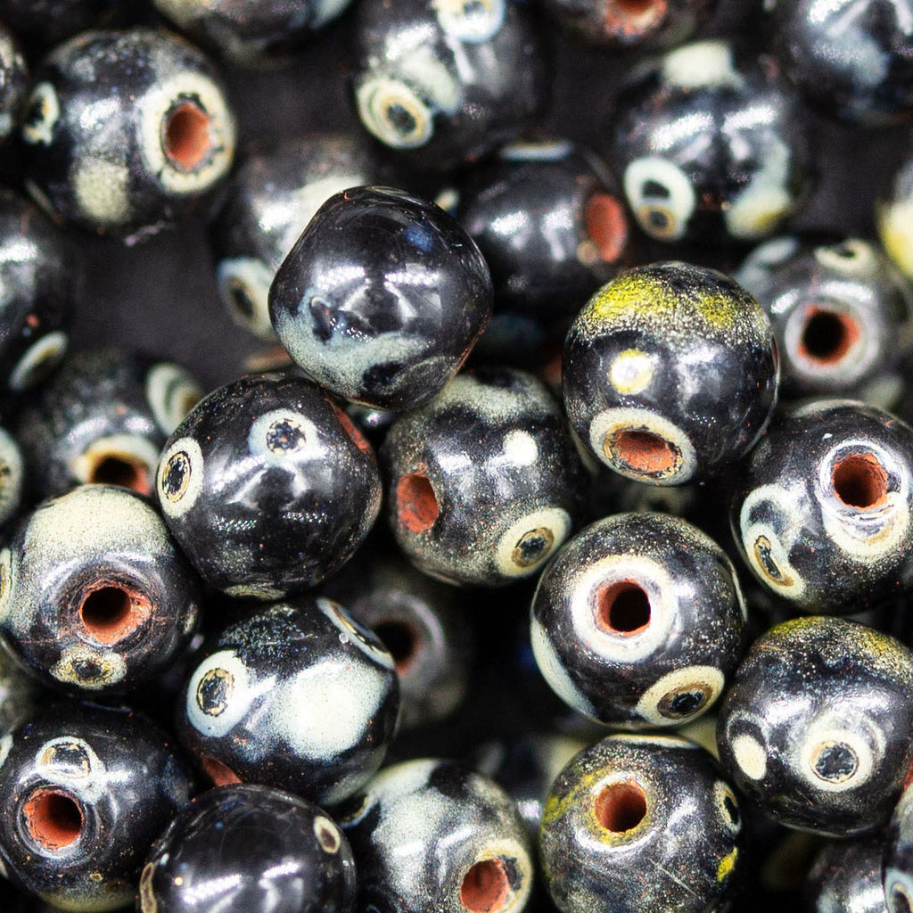 50 Black with Picasso Round Druk Czech Glass Beads, 4mm