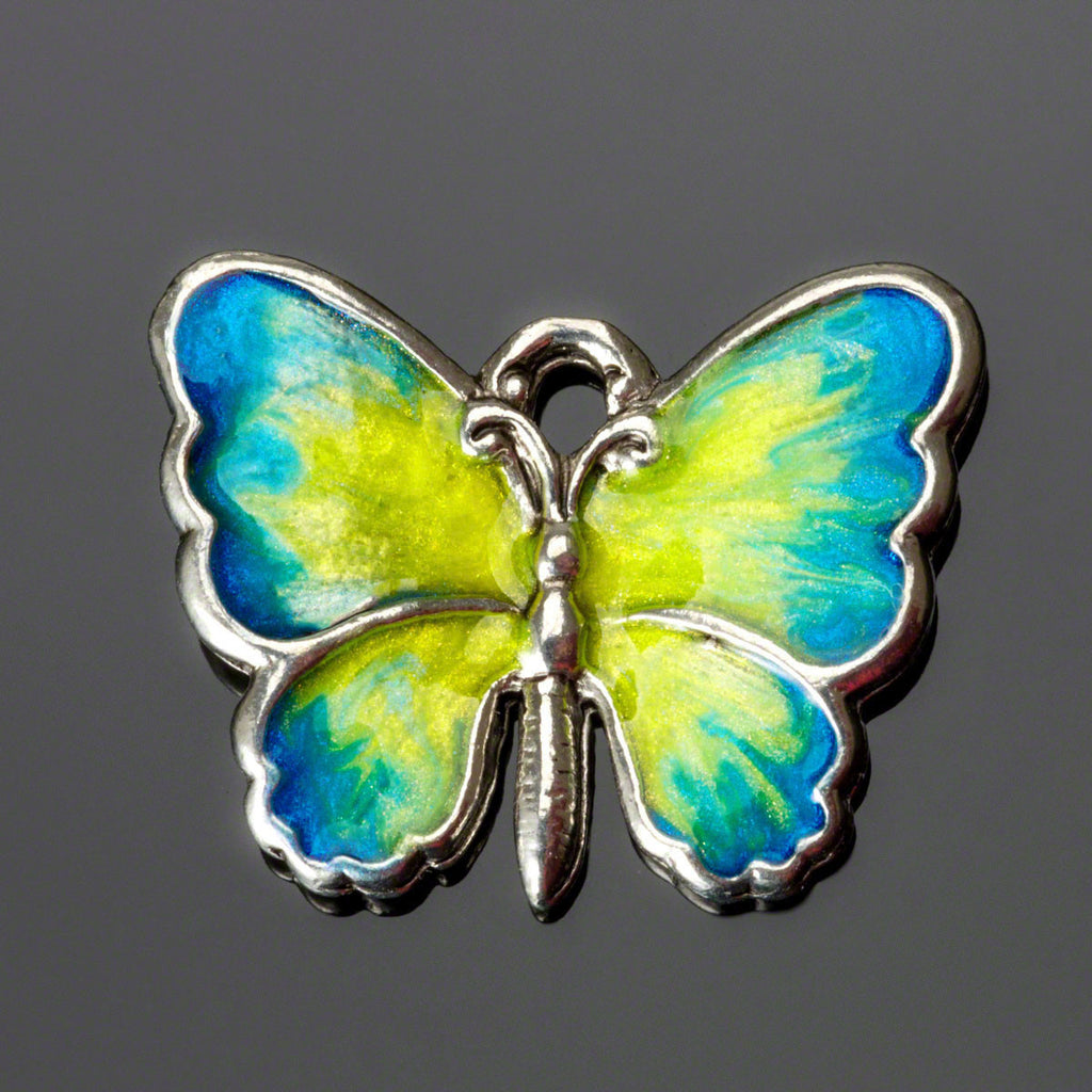 6 Hand-enameled blue and yellow lead-free silver pewter metal butterfly charm, 19 x 14mm