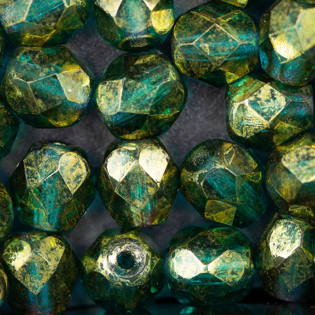 25 Blue Green with Gold Luster Czech Firepolished Round Beads, 6mm