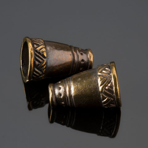 2 Cast Native style large cone end cap pair, brass, 18 x 11mm