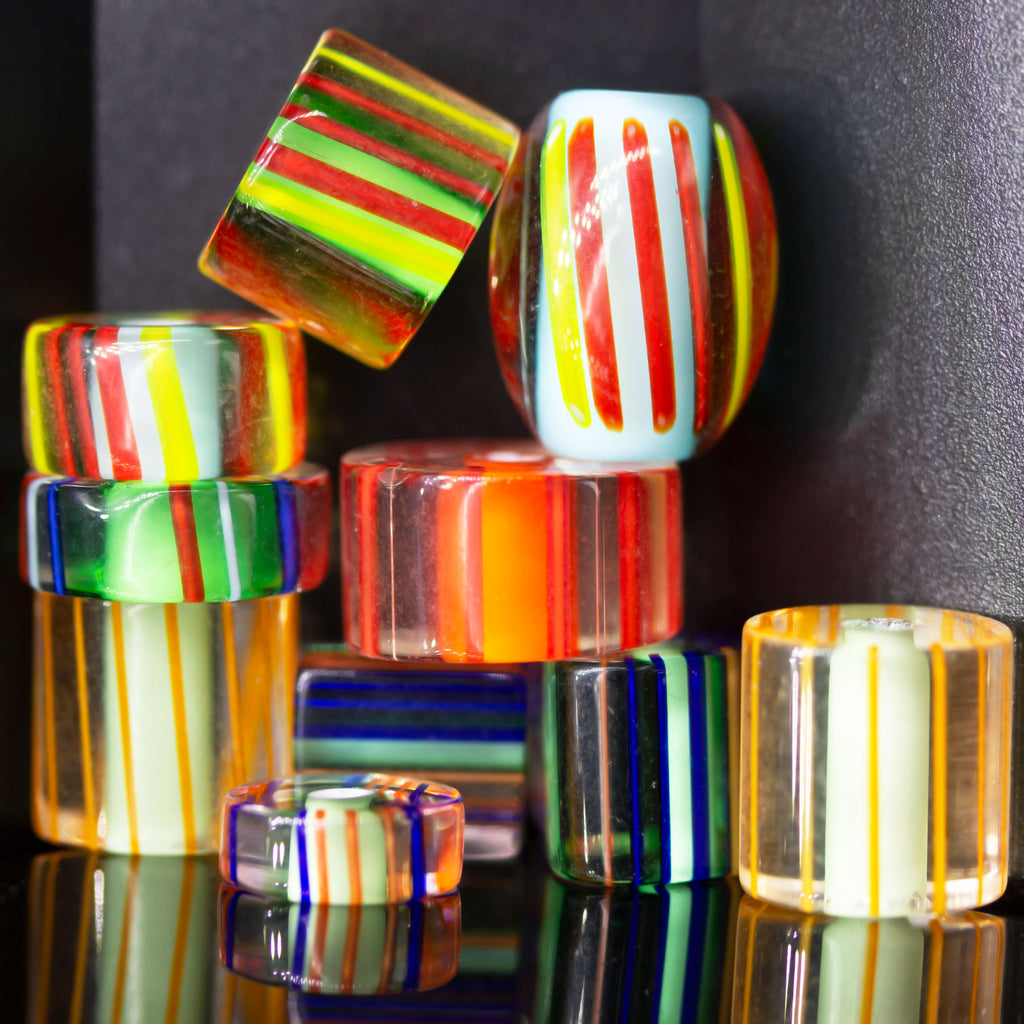 10 Large Glass Cane Striped Slice Bead Shape Mix, 10 - 12mm, Hole 1.25 - 2.5mm