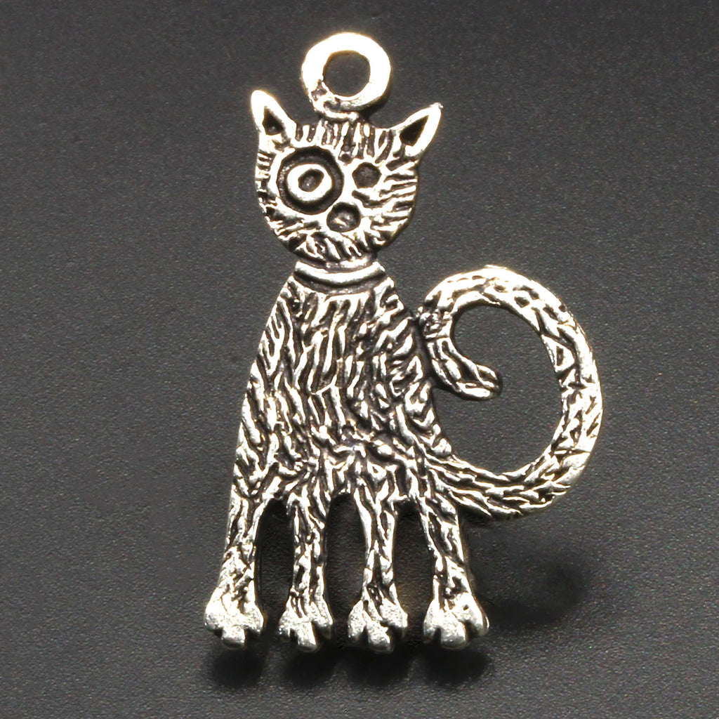 Cast antique silver large cat charm, 22 x 35mm