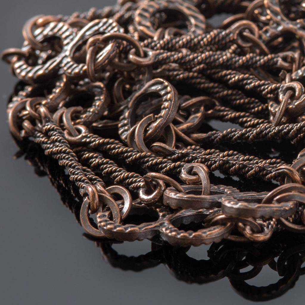 "CLEARANCE 36"" Handmade crazy eights and bars chain, antique bronze"