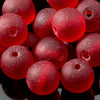 One Strand of 32 Cultured Faux Sea Glass Round Beads, Cherry Red, 6mm
