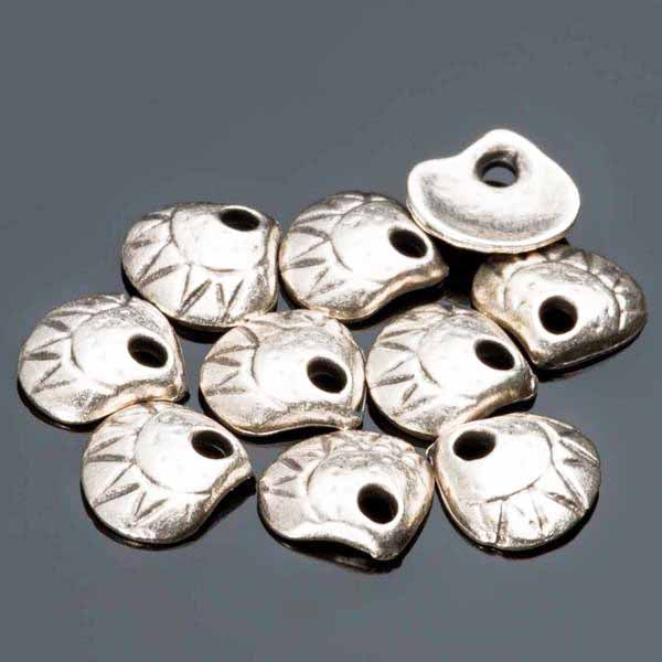 10 or 20 Cast Mykonos Antique Silver Clam Shell Charm Dangles, 10mm