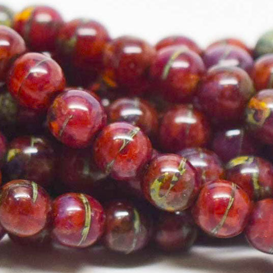 25 Czech Glass Coral Agate Style 6mm Round Picasso Druk Beads, 6mm